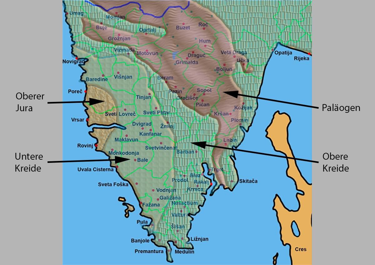 Karte Istrien Kroatien.Geologie Von Istrien